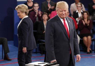 Hillary Clinton and Donald Trump arrive before the second presidential debate at Washington University in St. Louis, Sunday, Oct. 9, 2016. Rick T. Wilking/Pool via AP