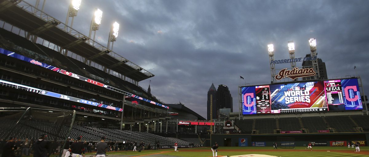 The Cleveland Indians' Progressive Field during a team practice for baseball's upcoming World Series against the Chicago Cubs, Sunday, Oct. 23, 2016, in Cleveland. AP Photo/Aaron Josefczyk