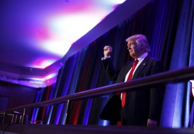 Donald Trump arrives to address supporters after his victory over Hillary Clinton. REUTERS/Jonathan Ernst