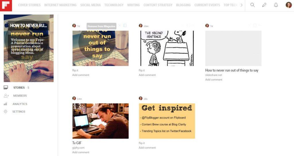 Presentation options on Flipboard