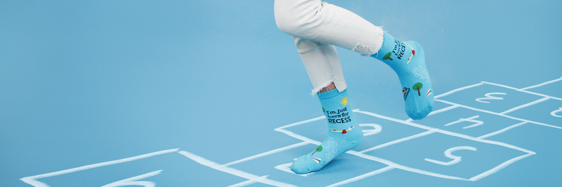 kids recess hop scotch socks