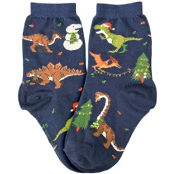 tree-rex dinosaurs christmas youth socks
