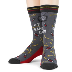 black red gold mens football game day socks front view on mannequin