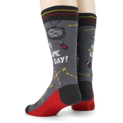 black red gold mens football game day socks back view on mannequin