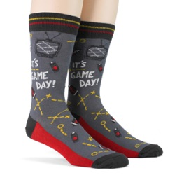 black red gold mens football game day socks side view on mannequin