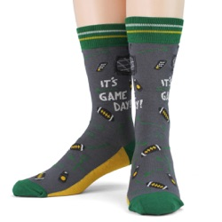 green gold mens football game day socks front view on mannequin