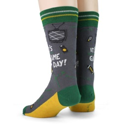 green gold mens football game day socks back view on mannequin