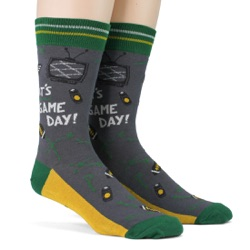 green gold mens football game day socks side view on mannequin