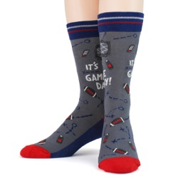 red blue silver mens football game day socks front view on mannequin