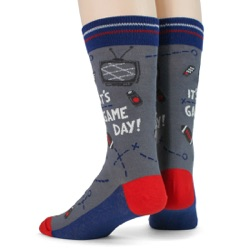 red blue silver mens football game day socks back view on mannequin