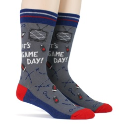red blue silver mens football game day socks side view on mannequin