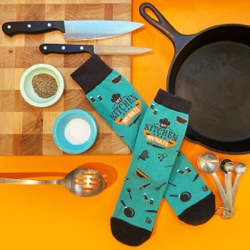 my kitchen my rules men's cooking socks with kitchen utensils and pans