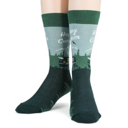 happy camper camping in woods and mountains mens socks front view on mannequin