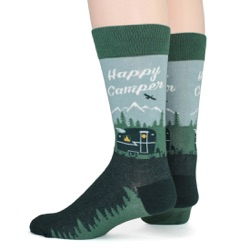 happy camper camping in woods and mountains mens socks back view on mannequin