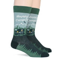happy camper camping in woods and mountains mens socks sidefront view on mannequin