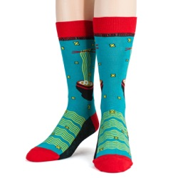 mens ramen foodie socks front view on mannequin