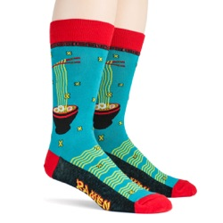 mens ramen foodie socks sidefront view on mannequin