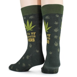 mens funny favorite herb marijuana socks back view on mannequin