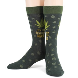 mens funny favorite herb marijuana socks front view on mannequin