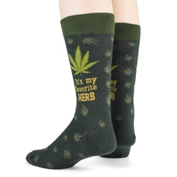 mens funny favorite herb marijuana socks sideback view on mannequin