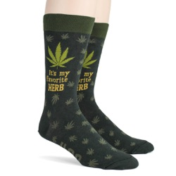 mens funny favorite herb marijuana socks sidefront view on mannequin