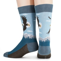 mens american bald eagle nature socks back view on mannequin