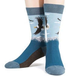 mens american bald eagle nature socks front view on mannequin
