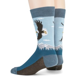 mens american bald eagle nature socks sideback view on mannequin