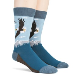 mens american bald eagle nature socks sidefront view on mannequin