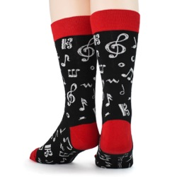 mens dancing music notes socks back view on mannequin