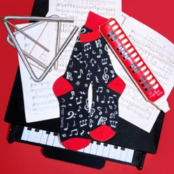 mens dancing music notes socks with piano, instruments, and sheet music