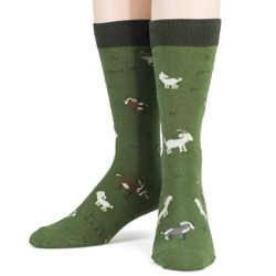 mens goats animal socks front view on mannequin
