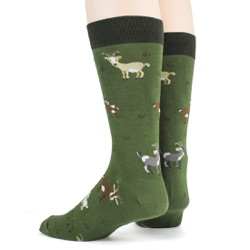 mens goats animal socks sideback view on mannequin