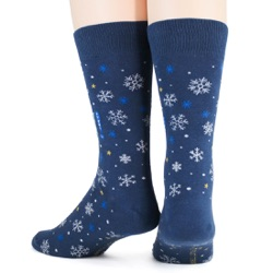 mens let it snow anywhere but here snowflakes winter holiday socks back view on mannequin