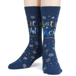 mens let it snow anywhere but here snowflakes winter holiday socks front view on mannequin