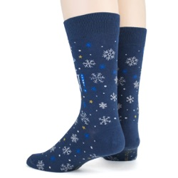 mens let it snow anywhere but here snowflakes winter holiday socks sideback view on mannequin