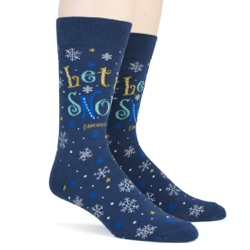 mens let it snow anywhere but here snowflakes winter holiday socks sidefront view on mannequin
