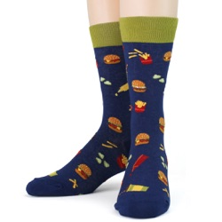 mens burgers foodie socks front view on mannequin
