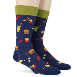 mens burgers foodie socks sidefront view on mannequin