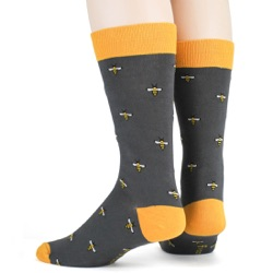 mens tiny bees with beehive bug socks sideback view on mannequin