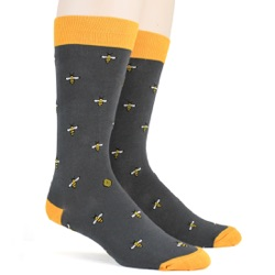 mens tiny bees with beehive bug socks sidefront view on mannequin