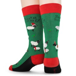 men's sheep bah humbug holiday socks back view on mannequin