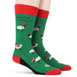 men's sheep bah humbug holiday socks sidefront view on mannequin