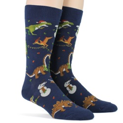 mens tree-rex christmas holiday dinosaur socks sidefront view on mannequin