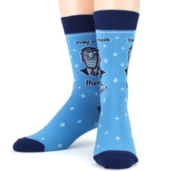 mens face mask coronavirus socks front on mannequin