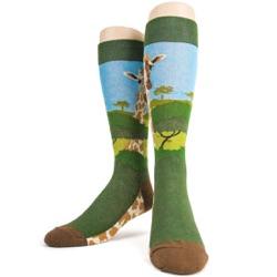 front view of giraffe socks