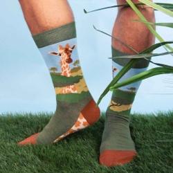 giraffe socks on model