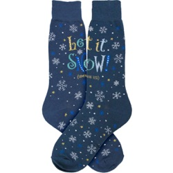 mens let it snow anywhere but here snowflakes winter holiday socks
