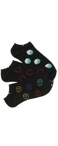 Peace Love Harmony No-Shows Socks 3-Pair Pack