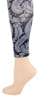 Black Paisley Footless Tights-Large/Tall